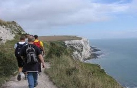 Picture of group hiking on the White Cliffs of Dover